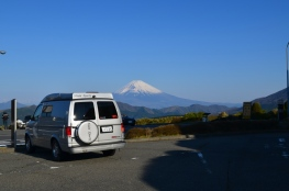 Klaus the camper van in front of Mt Fuji